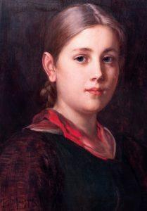 Franz von Defregger, Brustbild eines Bauernmädchens, Öl auf Holz, 1905